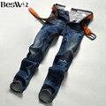 Beswlz Vaquero Jeans Brand Jeans Hombres Vaqueros Masculinos Delgados Rectos Pantalones de Moda Clásico Estilo Casual Hombres Blue Jeans 9523