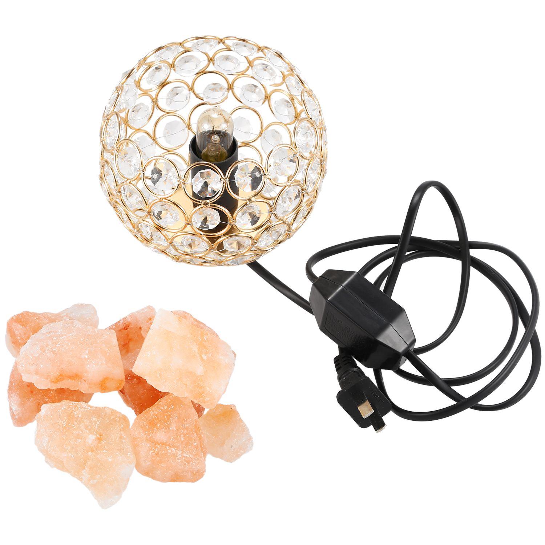 Himalayan Salt Lamp gold Crystal Sea Salt Rock Lamp Bowl 15W Bulbs,Alloy Base,Dimmable Controller,UL-Listed Cord,US Plug