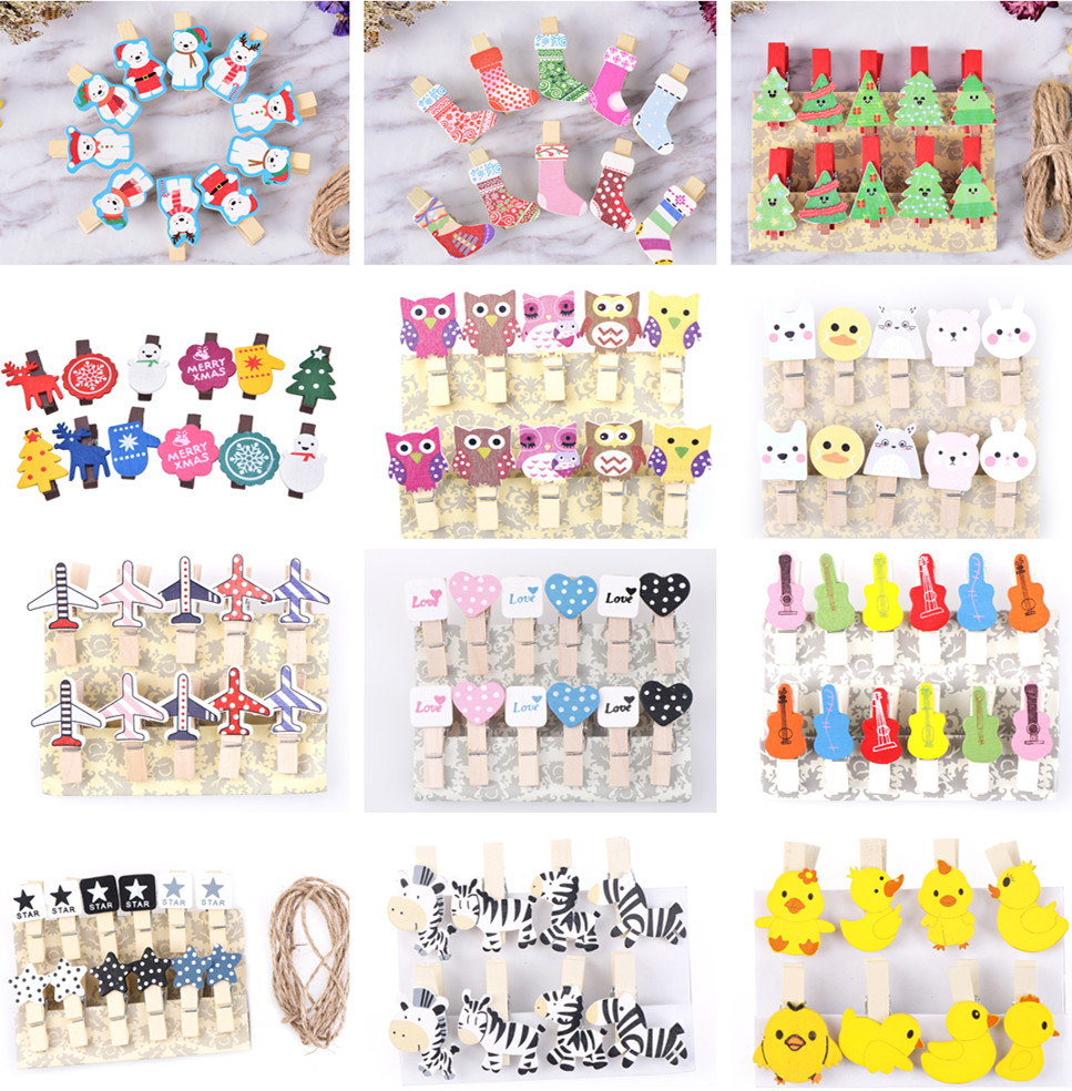 8/10/12 Pcs Mini Natural Wooden Photo Clips Christmas Snowman Duck Heart Owl Shaped Clips Clothespin Craft Decoration Clips Pegs