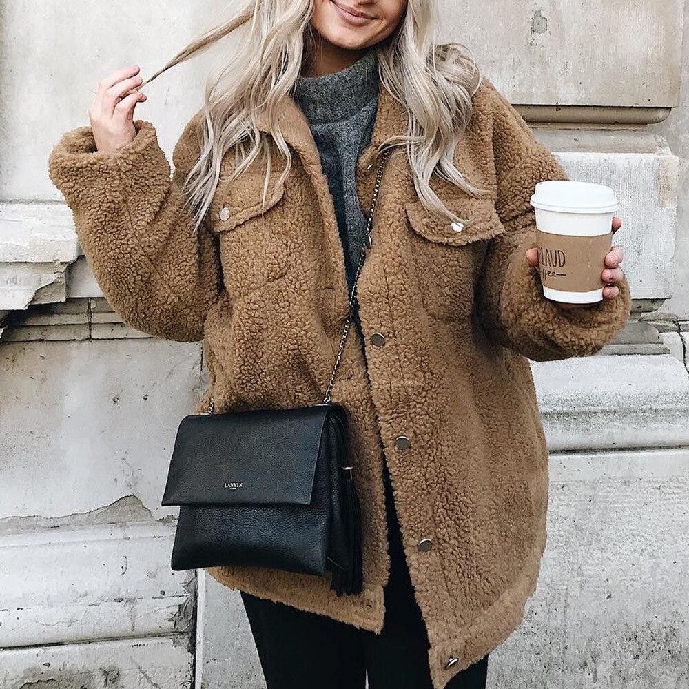 Nova moda inverno casaco de lã feminino único breasted com bolso casual mex jaqueta bontjas casaco de pele manteau femme hiver 2020