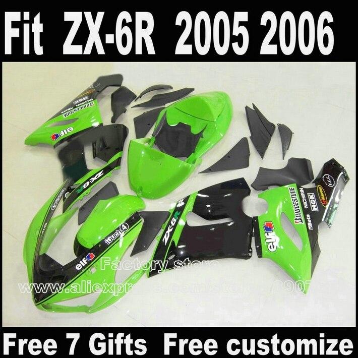 Meilleur prix kit Carrosserie pour Kawasaki ZX6R carénage kits 2005 2006 vert noir Pièces 05 06 Ninja 636 carénages DT9 + 7 cadeaux
