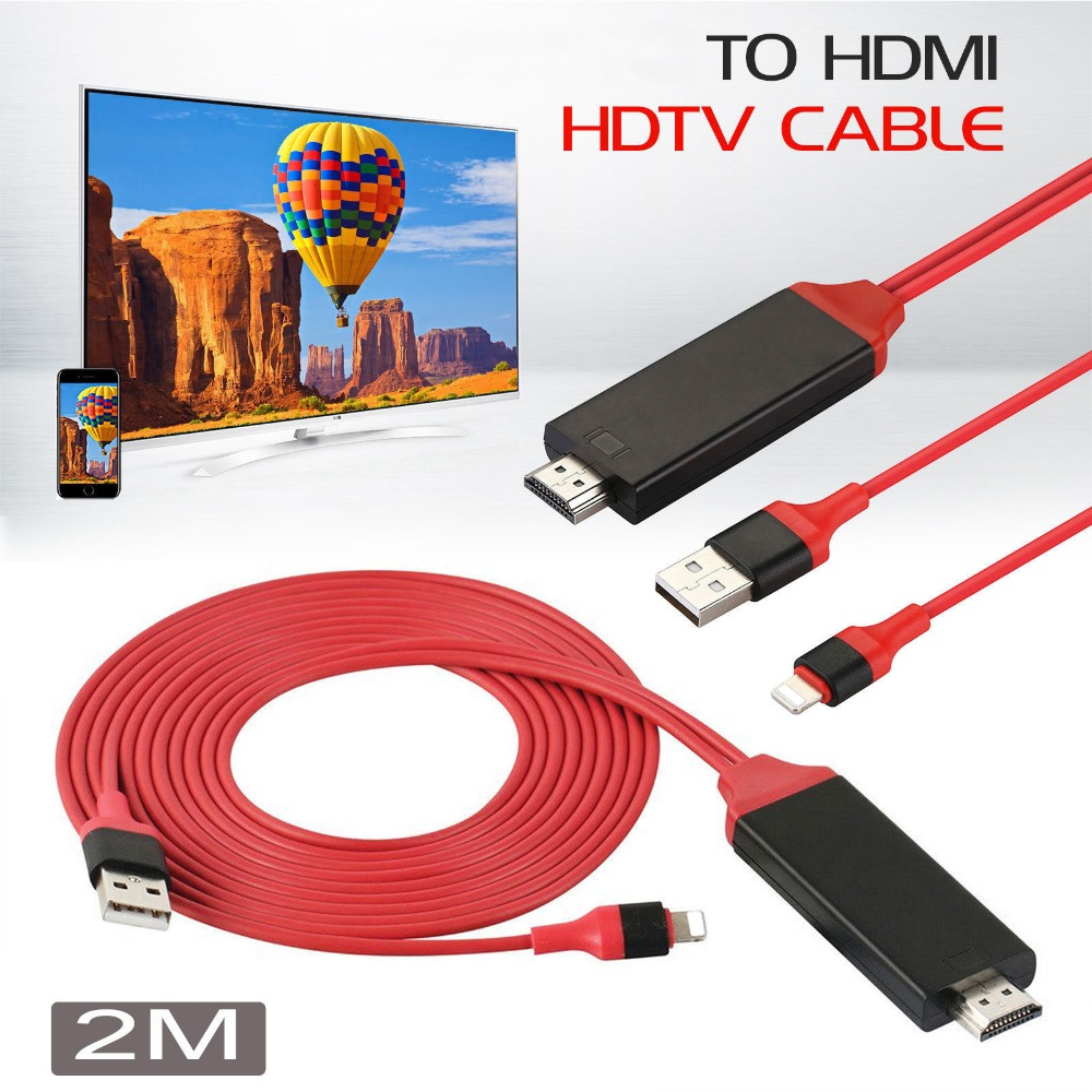 Original Chip,plug and play,Phone To HDMI TV HDTV AV Audio Video Cable For iPhone 5/5S/6/6S/7 Plus for iPad Air Pro Mini to TV skw 24k hometheater hdtv computer 3rca to 3rca audio and video cable box connected to the tv three rca av cable