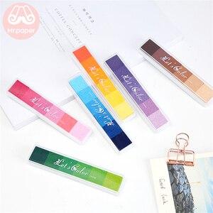 Mr Paper 6 Colors Gradual Change Colorful Long Inkpad Handmade DIY Craft Oil Based Inkpad Rubber Stamp Paper Scrapbooking Inkpad