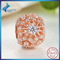 925 Sterling Silver CLEAR CZ Sunburst Pattern Charm Fit Pandora Bracelet DIY Rose Gold Plated Jewelry Making For Woman