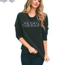 2017  European American Hoodies Women Cotton O-neck Black Sweatshirt Y8043