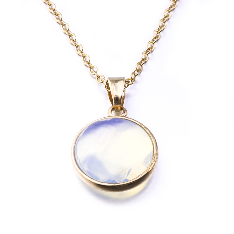 Diameter 2cm Gold Color 10colors Round Natural Stone Necklace Opal Pink Crystal Druzy Necklace For Women Jewelry