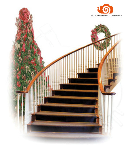 5X7ft Hand painted Muslin interior stairs photo backdrops,fotografia profissional,christmas tree photographic background K2035