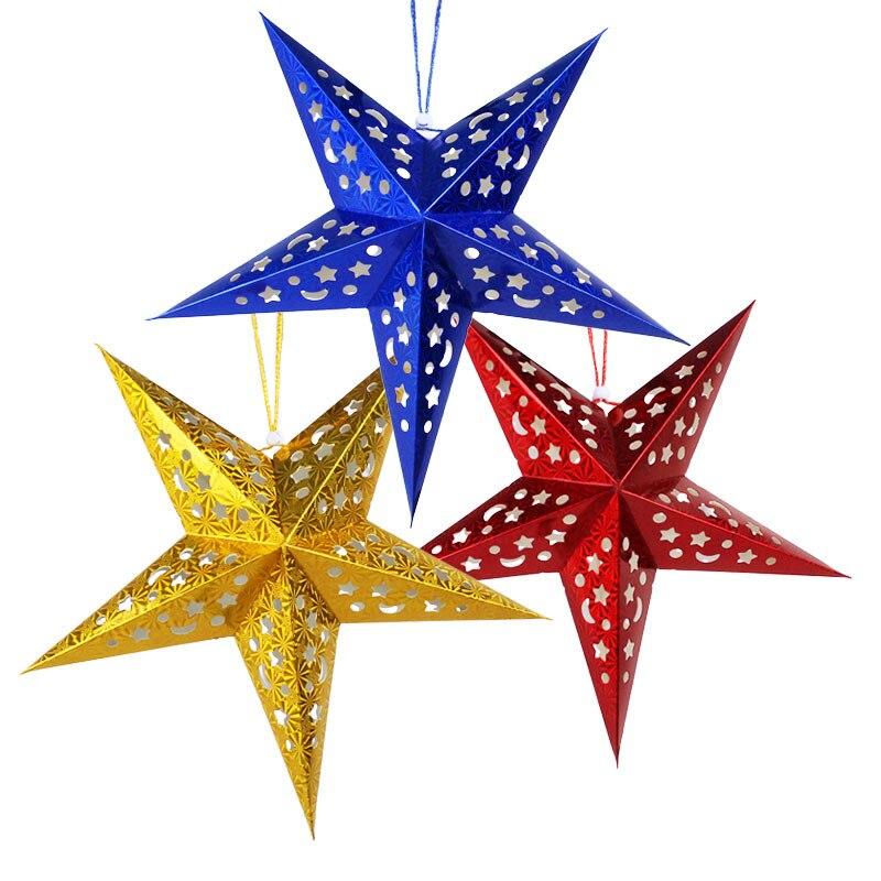 XUNZHE 3pcs Christmas Decorations 1PCS 30*30CM Three-dimensional laser pentagram Bar ceiling decoration Ornaments Star
