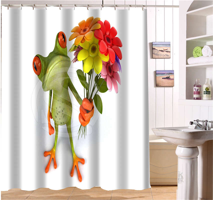 WJY504K8 Custom Frog With Flower Funny Picture Fabric Modern Shower Curtain  Bathroom Waterproof FY8(China