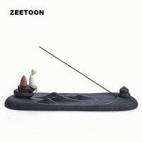 Japanese Black Zen Coarse Pottery Stick Backflow Incense Burner Ceramic Censer Incense Plate Incense Holder Creative