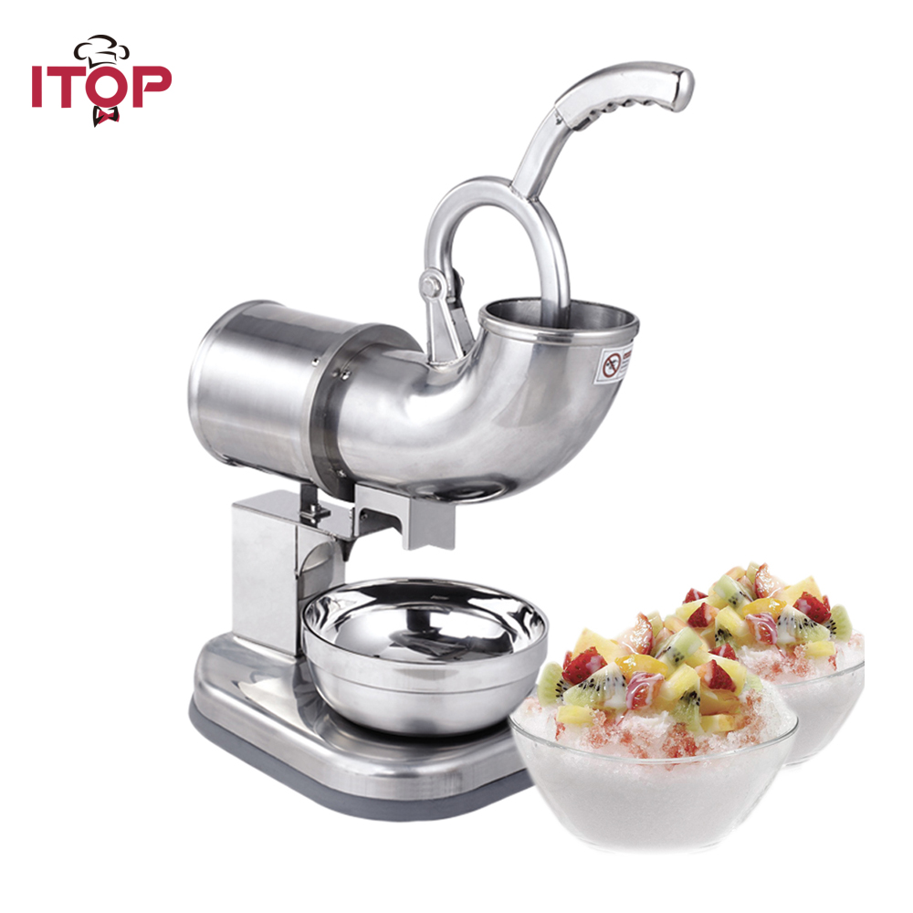 ITOP Ice Crusher Stainless Steel SBT114 110V 220V 240V Snow Cone Machine, Ice Shaver Maker Ice Cream Machine jiqi electric ice crusher shaver snow cone ice block making machine household commercial ice slush sand maker ice tea shop eu us
