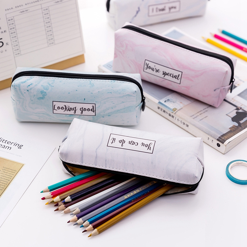 Cute Pencil Case Marble Pattern Leather Pen Bag Pencil Box Pencil Case Stationery Pouch Office School Supply