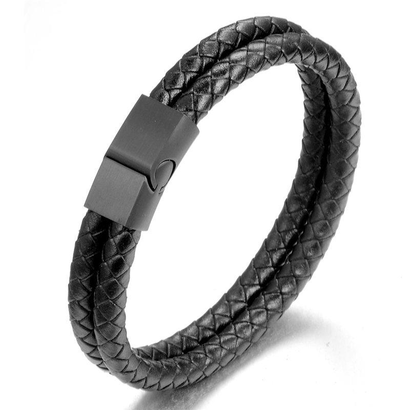 Men Jewelry Punk Black Braided Genuine Leather Bracelet Stainless Steel Magnetic Buckle Bangles Pulseiras