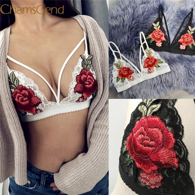 2019 Women Bandage Appliques Lace Bralette Crop Top Lingerie Mesh Lining Sheer Unpadded Bra A2#