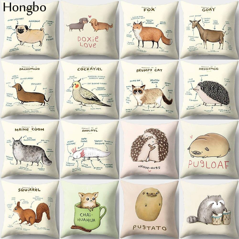 Hongbo 1 Pcs New Cushion Cover Dog Pugs Fox Printied Throw Pillow Animals Pillows Cover Car Sofa Home Decorative Pillowcases