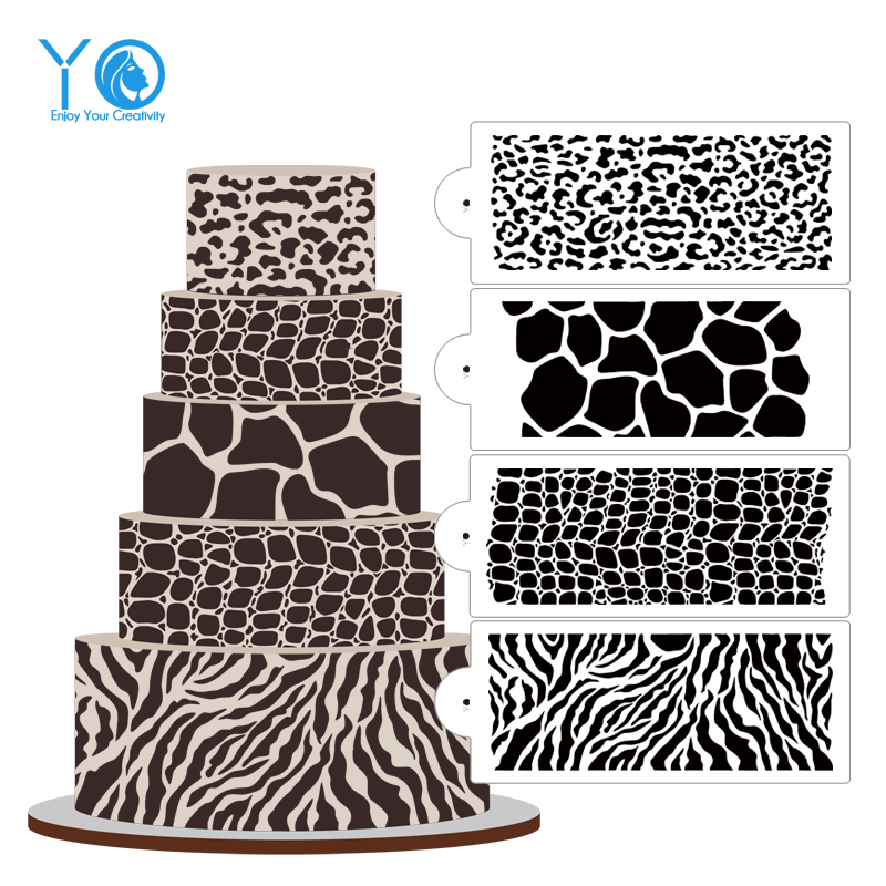 4pcs/Lot Animal Pattern Patterns Cake Stencil Fondant ...