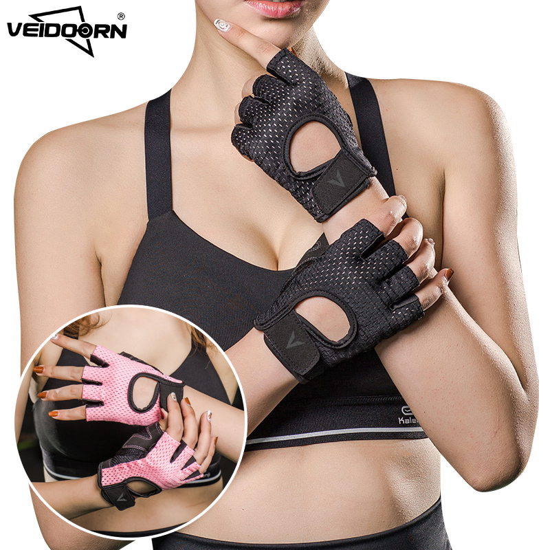 Veidoorn Professional Gym Gloves Exercise Gloves Women Breathable Sports Gloves Sports Fitness Weight-lifting Cycling Workout