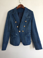 2017 New Style Winter Style Denim Jacket Double Button Slim Ladies Coat Hot Sale