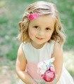 20pcs/lot Felt Flower Hair Clip Rose Hairclips Flowers HairClip Bloom Snap Clips Girls hairclips Baby Girl Golden Hair clip