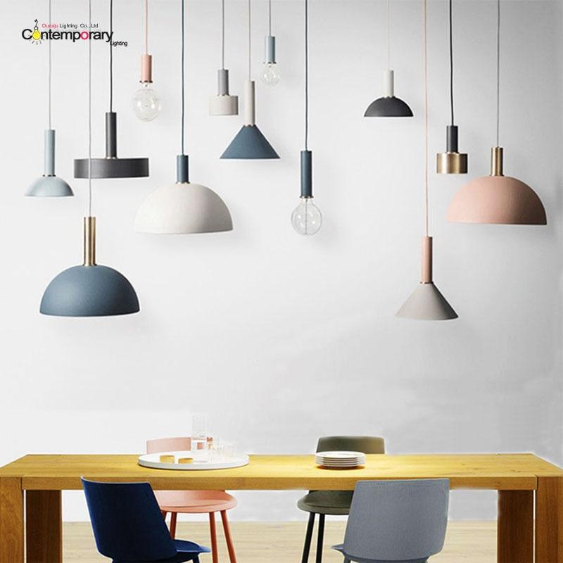 €48.73 19% de DESCUENTO|Diseño Danés nórdica colgante luces de lámpara  iluminación Industrial Loft Lamparas comedor lámpara colgante E27  accesorios de ...