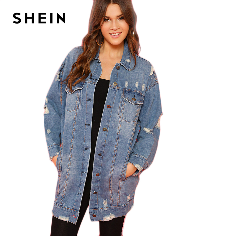 f053f15334 Aliexpress.com   Buy SHEIN Blue Rock Highstreet Patched Buttoned Ripped  Denim Long Minimalist Solid Jacket 2018 Autumn Casual Women Coat Outerwear  from ...