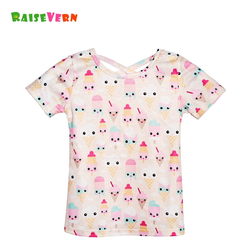 2018 New Girls T-Shirt Icecream Printe Summer Chirlden T-shirt For 3-12 Years Kids Tops Cross Design Short Sleeve Clothes