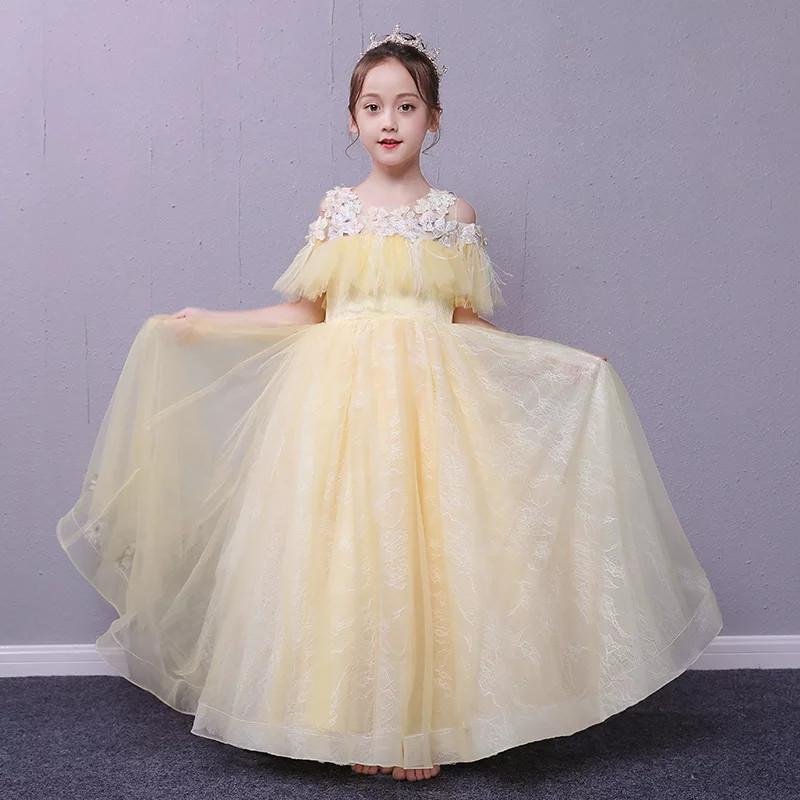 2018 Summer New Children Girls Gorgeour Evening Birthday Party Princess Lace Long Dress Kids Teens Wedding Party Pageant Dress music note party swing dress