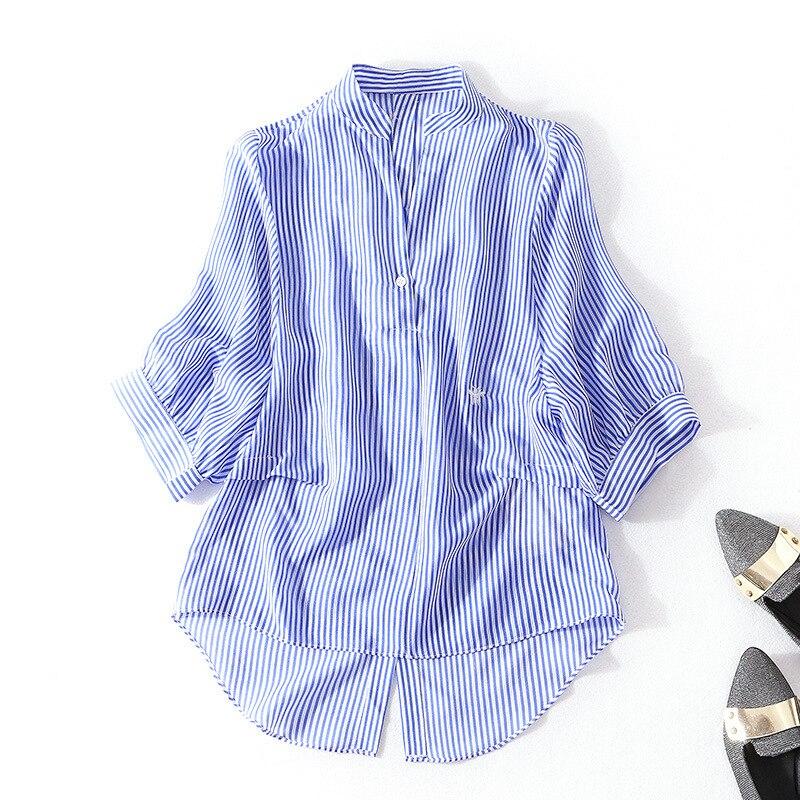 100% шелк в полоску Пуловеры Блузка 2018 новый для подиума Женская летняя обувь рубашки высокого качества офис леди v образным вырезом свободны