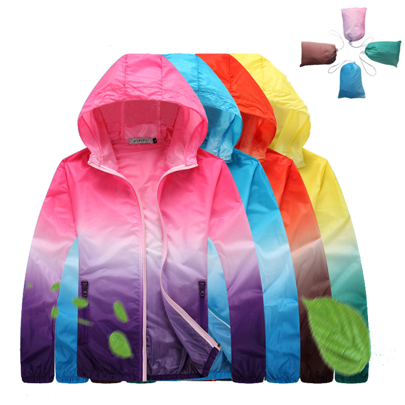 4XL New Men Women Anti-UV Ultralight Thin Skin Jackets Gradient Color Outdoor Hiking Camping Trekking Running Sport Coat RW060