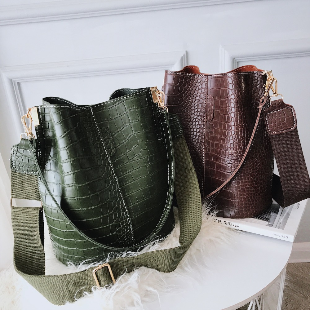 Image 5 - Vintage leather Stone Pattern Crossbody Bags For Women 2019 New Shoulder Bag Fashion Handbags and Purses Zipper Bucket Bags-in Shoulder Bags from Luggage & Bags