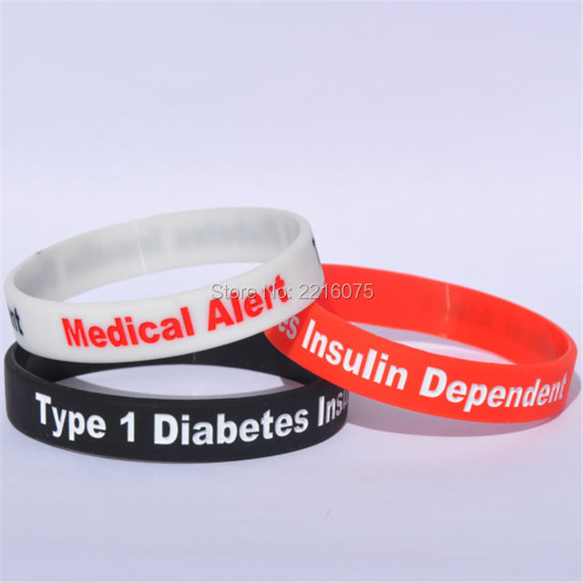 300pcs 3 Colors Medical Alert Type 1 Diabetes Insulin Dependent Wristband Silicone Bracelets Free Shipping By