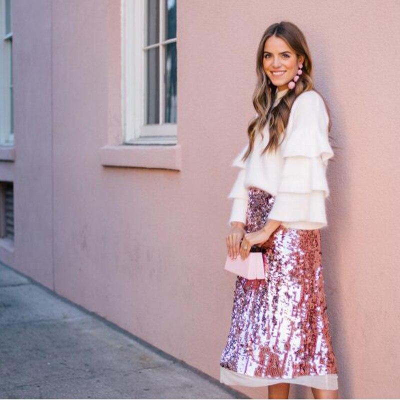 1fd61702e Dreamlike 2017 rosa brillante lentejuelas hasta el tobillo faldas para  mujer falda de alta calidad ...