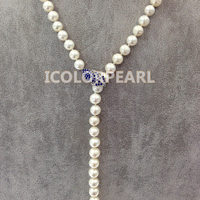 WEICOLOR 90cm Long 9 10mm White Nearround Cultured Freshwater Pearl Jewelry Necklace With Clear/Gold/Blue Crystal Clasp