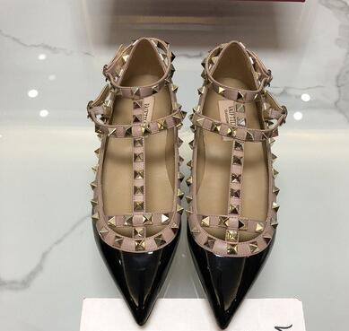 spring new Black nude rivets shoes female flat sandals European patent leather shallow mouth pointed-toe fashion flat single shspring new Black nude rivets shoes female flat sandals European patent leather shallow mouth pointed-toe fashion flat single sh