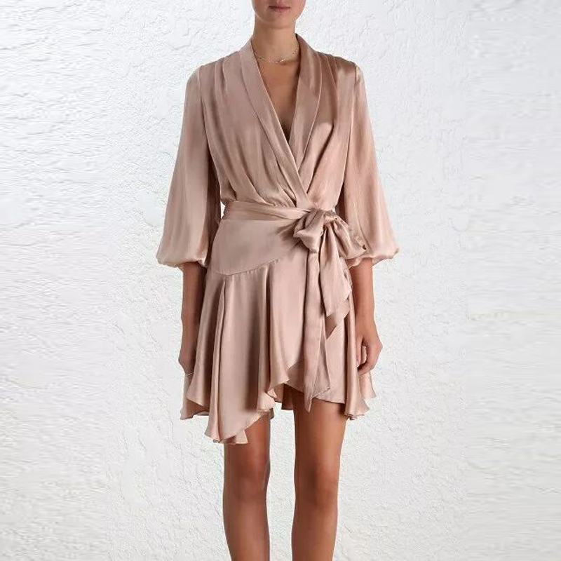 HIGH QUALITY Newest Fashion Runway 2019 Summer Dress Women s Puff Sleeve Wrap Asymmetrical Dress