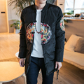 2017 winter men parkas jacket dragon embroidery long padded cotton thicken coat male fashion casual outwear plus size M-5XL,MY88