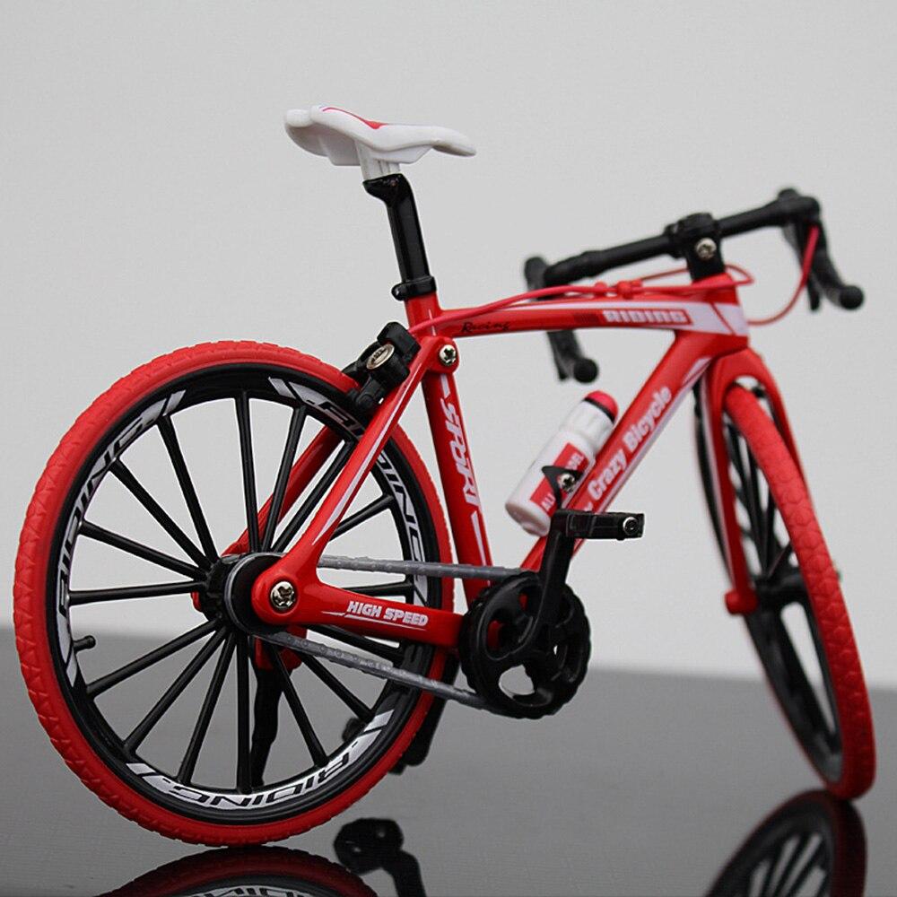 Миниатюрный велосипед коллекция игрушечный мотоцикл моделирование велосипед сплав многоцветный Декор безопасный материал Альпинизм Новинка Велосипед коллекция - Цвет: Bend the car red