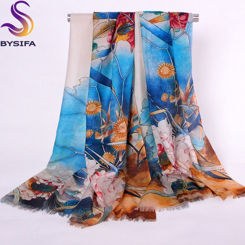 Lotus Blue Wool   Scarves   Tippet Printed Spring Autumn Women   Scarves     Wraps   Printed 210*70cm Plants Flowers Long   Scarves   Shawl