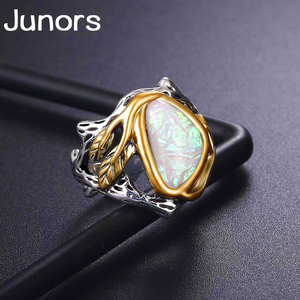 Unique White Fire Opal Stone wave Rings for women gold silver Leaves Luxury Big Oval Moon wedding Rings man fashion jewelry gift(China)