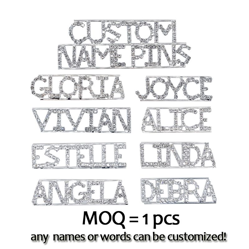 Blingbling Personalized Word Brooch Pins Crystal Handmade Custom Name Lapel Pins/Badges Unique Jewelry Gift