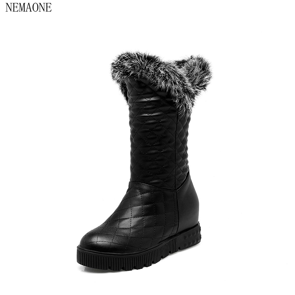 NEMAONE Free Shipping New Arrival Fur Classic Mujer Botas Waterproof pu Cowhide Snow Boots Winter Shoes for Women цены онлайн