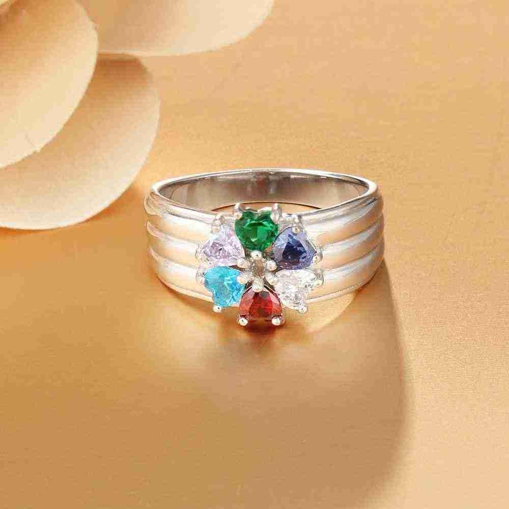 משפחה & חבר מתנה אישית 6 אבן המזל לחרוט 6 שם טבעות תכשיטי יום 925 כסף (JewelOra RI103259)