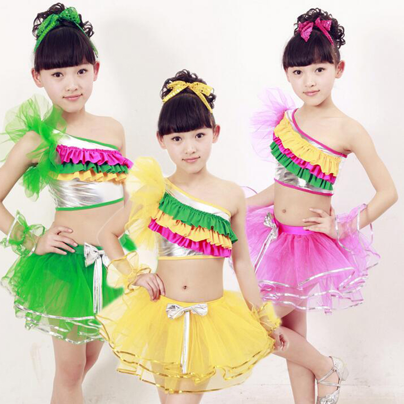 7c2603306 Girls Sequined Ballroom Jazz Modern Dancing Costumes clothing Kids ...