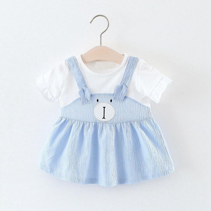 Summer Baby Girls Short Sleeve O Neck Cartoon Bear Princess Birthday Party Tutu Dress Cute Kids