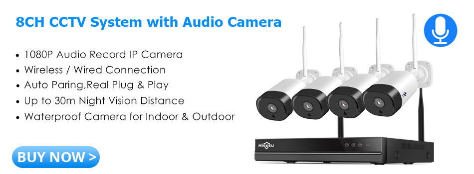 Hiseeu 8CH Wireless CCTV System with Audio Camera