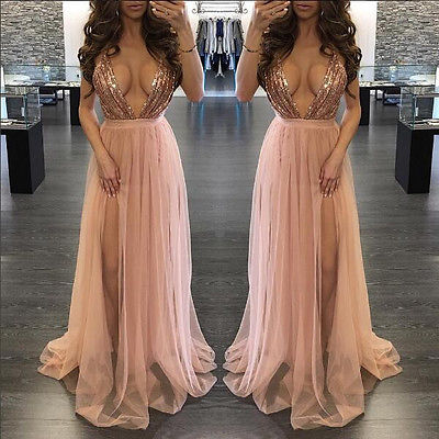 9ed6f6699681 Detail Feedback Questions about Women Sexy V Neck Sequins Bridesmaid Formal  Gown Ball Party Prom Long Maxi Dress Clubwear on Aliexpress.com   alibaba  group