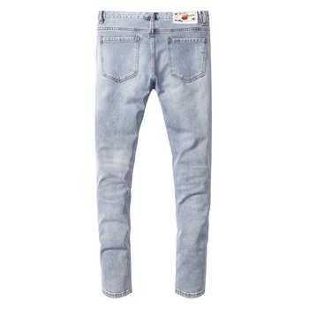 Sokotoo Men\'s angel flower printed jeans Slim fit stretch denim pants