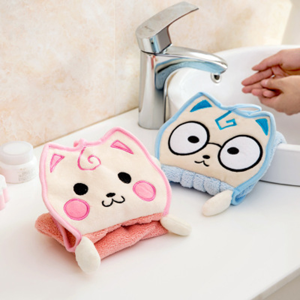 Cute Animal New Candy Thickened Towel Colors Soft Coral Velvet Cartoon Animal Towel Can Be Hung Kitchen used 7