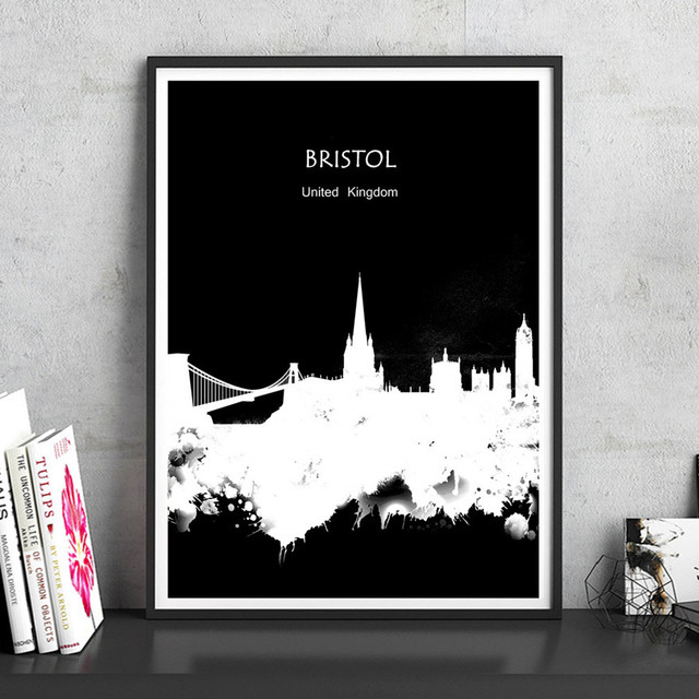 Modern abstract watercolor world city bristol uk home decor print poster painting living room bar cafe