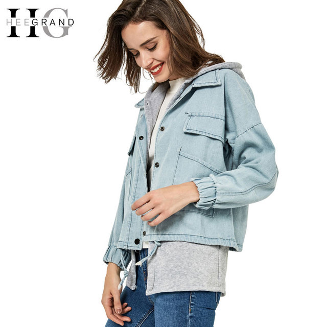 HEEGRAND Spring Autumn Winter Hooded Two Pieces Plus Size Jaqueta Feminina Denim Outerwear Coat Jeans Jackets Women WWJ061